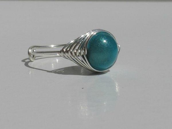 bague wire argent perle bleu quart