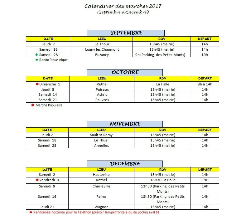 calendrier sept à dec 2017