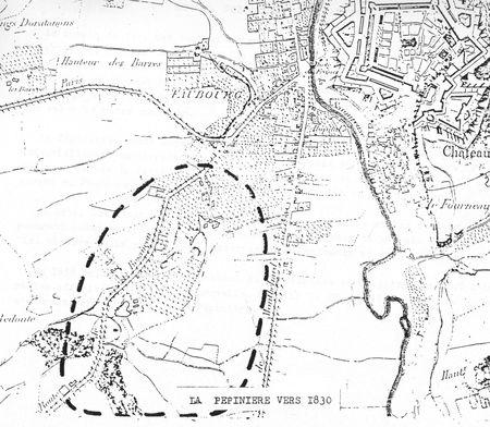 Plan La Pépinière vers 1830