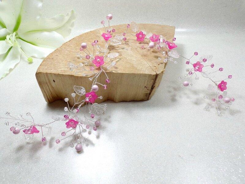 Bijou cheveux couronne mariage rose Swarovski headband