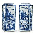 A tall pair of Chinese Export blue and white vases