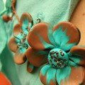 Collier tortillons et fleurs, turquoise et marron en fimo, rocaille et fil de fer (vue 3