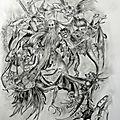 La tentation de saint antoine (d'après martin schongauer) (crayon format 50 cm x 60 cm)
