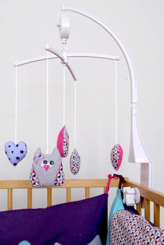 Mobile chambre de bébé hibou chouette liste de naissance personnalisée créateur