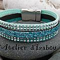 Bracelet festif avec son daim ou suédine à strass turquoise-canard et vert d'eau et son cuir structuré pailleté bleu turquoise !
