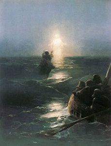 St Pierre tentant de marcher sur les eaux par Ivan Aivazovsky