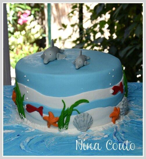 gâteau dauphin, pour la fete d'école de mon téo - atelier des