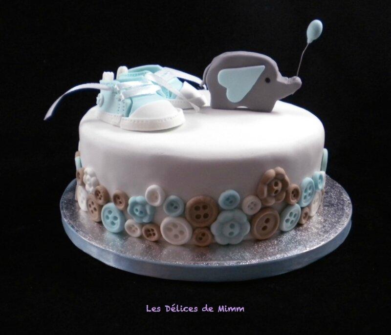 Un sponge cake pour diabétique pour ce baby shower cake3