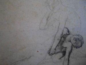 Etude du père tenant son fils sur les genoux mine de plomb et crayon noir