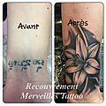Recouvrement tatouage mal réalisé par une fleur - par jérémy