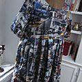 Robe RAYMONDE en coton imprimé ''belle comme un camion'' - manches raglan - longueur genoux - taille unique (16)