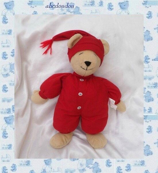 Doudou Peluche Ours Dormeur Beige Et Rouge North American Bear Co
