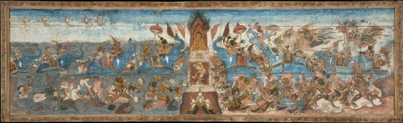 The Buddha overcomes the demon Mara and his forces, and the Earth Goddess creates a flood