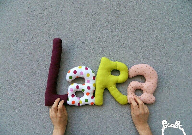 lara,mot en tissu,mot decoratif,cadeau de naissance,decoration chambre d'enfant,cadeau personnalise,cadeau original,poc a poc blog