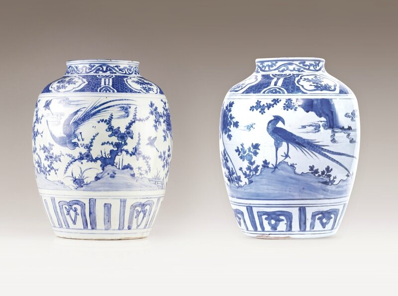 A pair of pots, Chinese porcelain, Ming dynasty, Wanli Period (1573-1619)