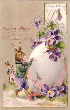 CPA Paques lapin