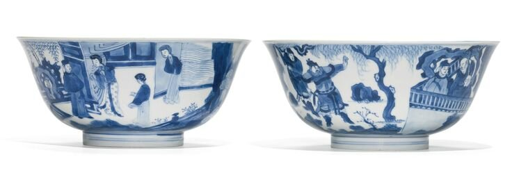 A pair of blue and white bowls, Qing dynasty, Kangxi period