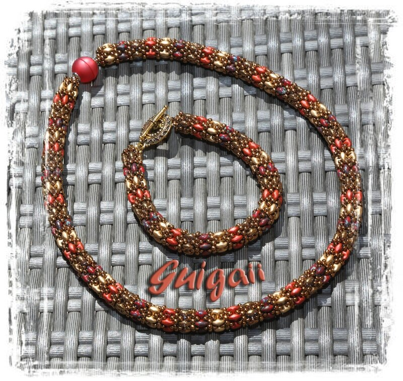n°248 Collier Daydreamrope rouge_or+bracelet