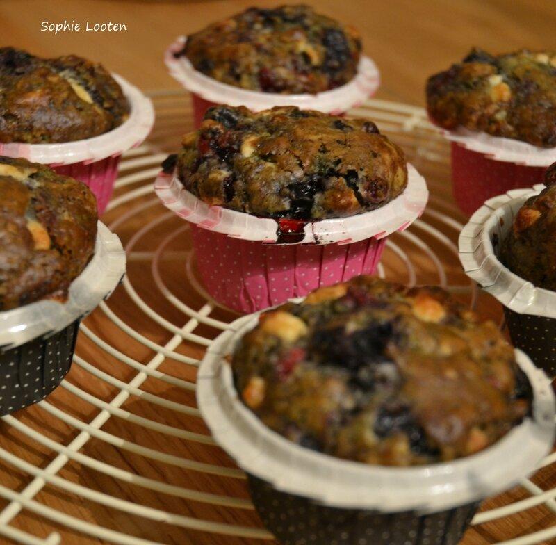 Muffins choc blanc matcha fruits rouges