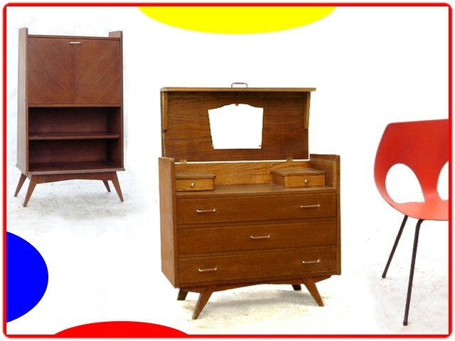 commode coiffeuse vintage pieds compas