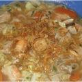 Soupe asiatique crevettes poulet