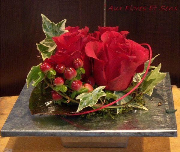 Carré zinc Rose rouge et hypéricum