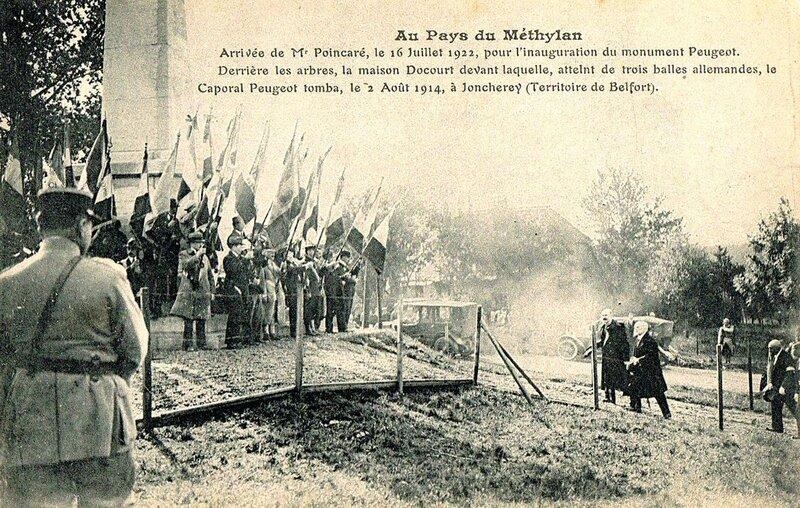 CPA Joncherey Inauguration monument Peugeot 16 juil 1922