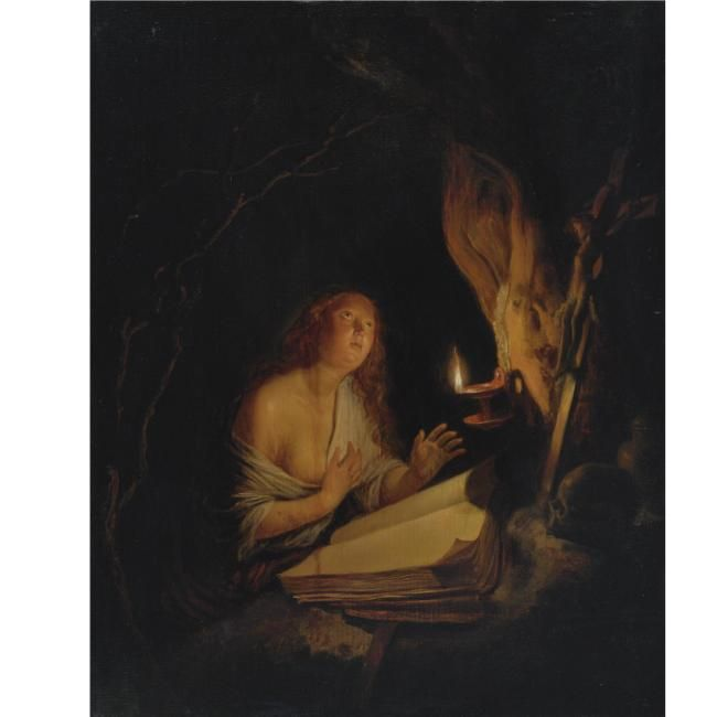 Attributed to Gerrit Dou (Leiden 1613 - 1675), The Penitent Magd