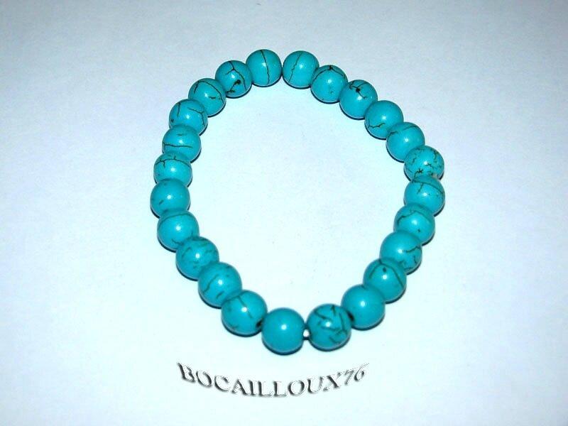 Bracelet HOWLITE Turquoise Perles 4 (3)