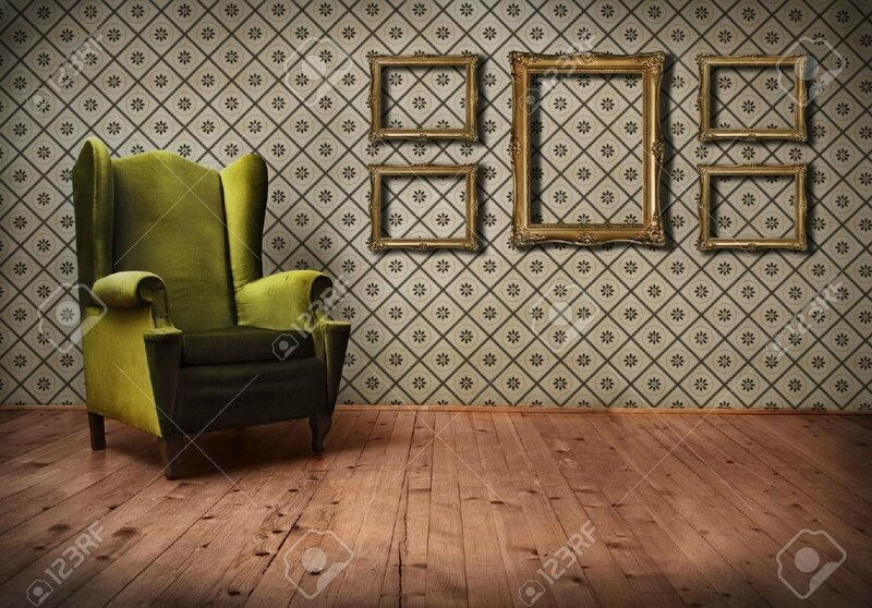 12379095-Vintage-room-with-wallpaper-and-old-fashioned-armchair-Stock-Photo