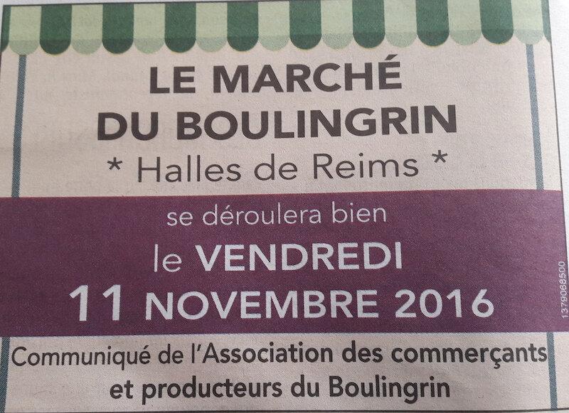 Un marché ce vendredi 11 novembre sous les halles du Boulingrin