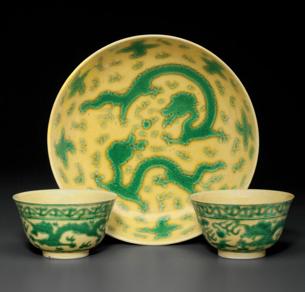 Three yellow and green-glazed vessels, Guangxu six-character marks in underglaze blue and of the period (1875-1908)