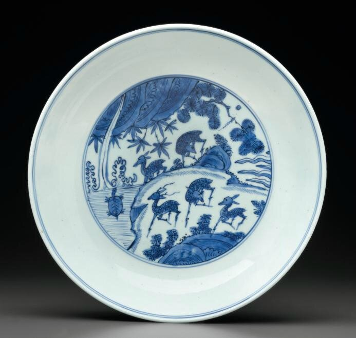 A blue and white dish, Jiajing six-character mark in underglaze blue and of the period (1522-1566)