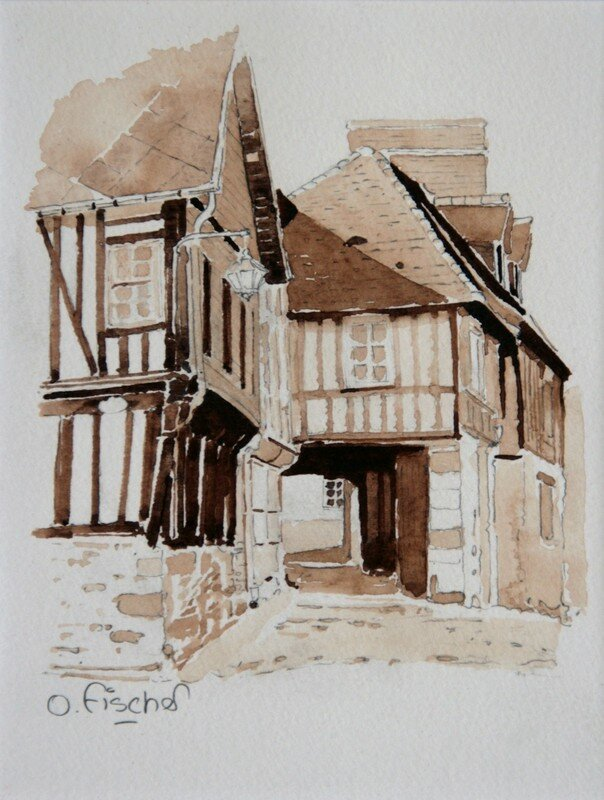 honfleur rue de l 39 homme de bois crayon et aquarelle 1994 photo de 2 le carton a dessin. Black Bedroom Furniture Sets. Home Design Ideas