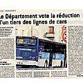 Dans le progrès du 26 janvier : le département vote la réduction d'un tiers des lignes de cars