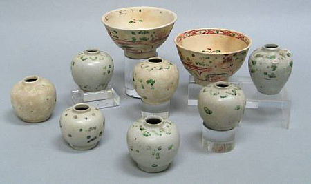 A selection of nine enamel decorated jars and bowls. Late 15th/E