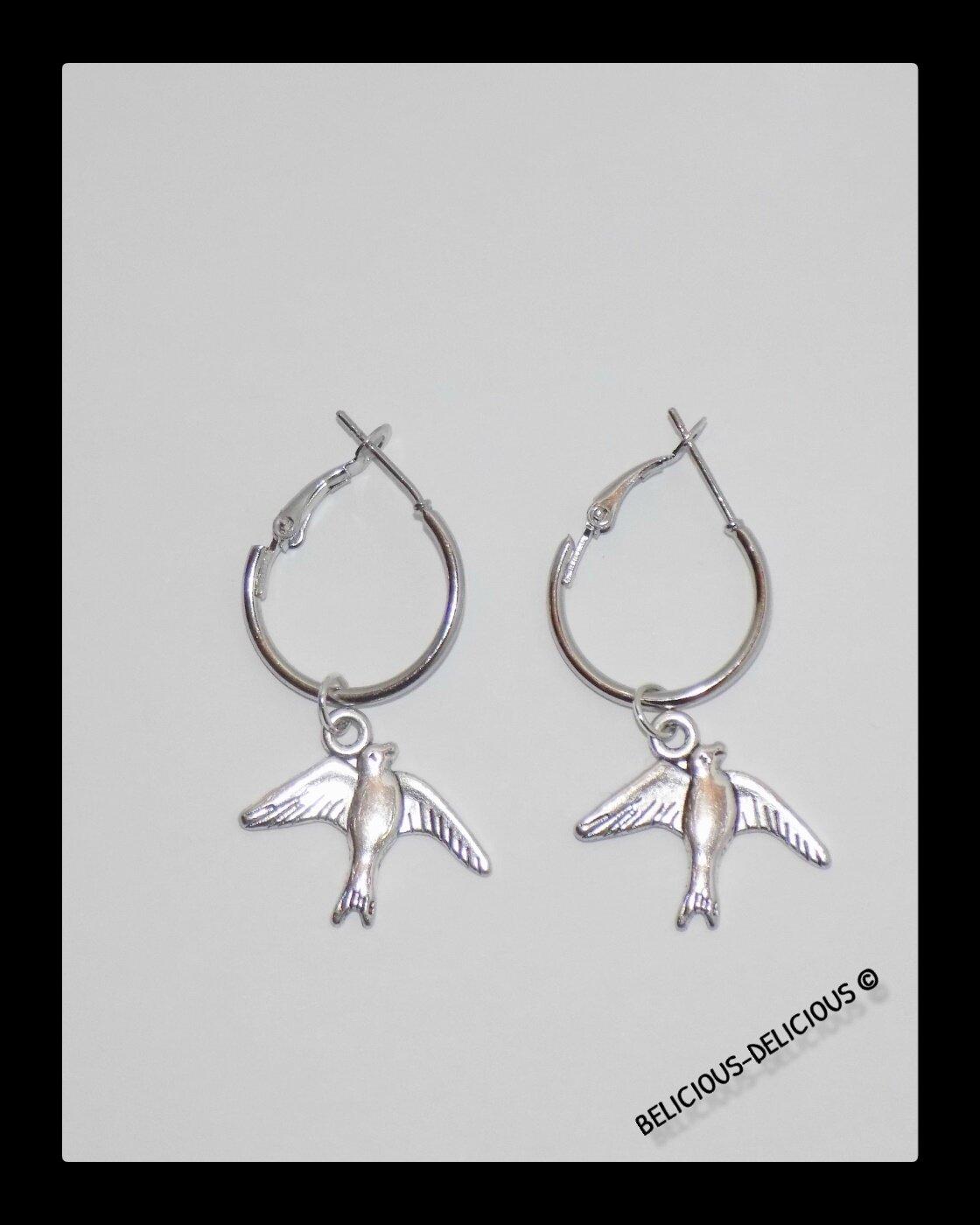 Original Boucles d'oreilles creole pour homme !! BIRDY en metal argente T .3cm x 2cm