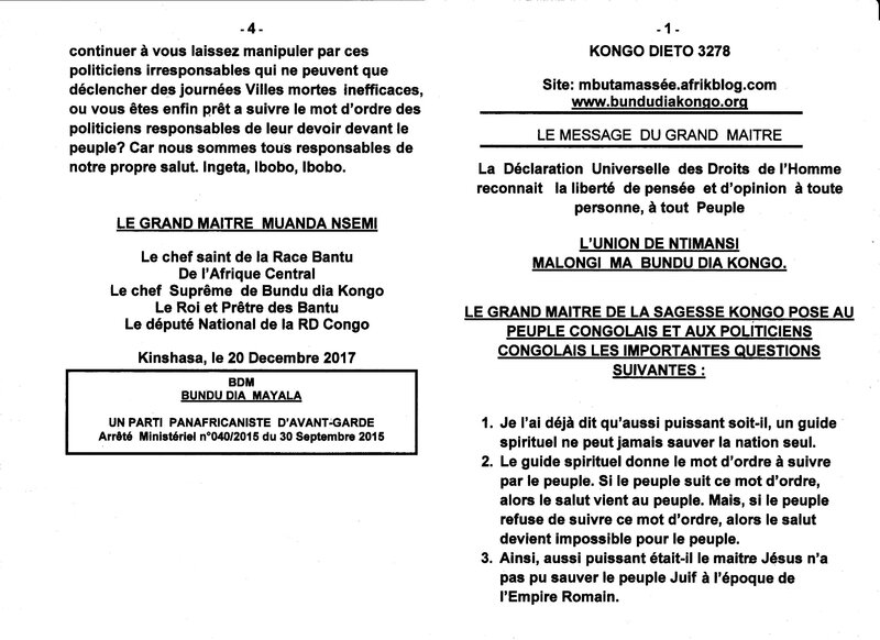 LE GRAND MAITRE DE LA SAGESSE KONGO POSE AU PEUPLE CONGOLAIS ET AUX POLITICIENS CONGOLAIS LES IMPORTANTES QUESTIONS SUIVANTES a