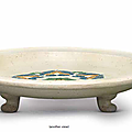 A sancai-glazed decorated tripod tray, Tang dynasty (618-907)