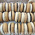 Macarons au chocolat, coques deux couleurs ...