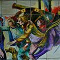 Détail mural de la station Bastille Lignes 4, 11 & 12.