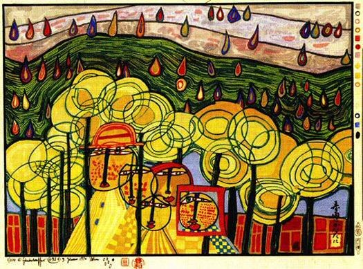 Hundertwasser_Friedensreich_The_rain_falls_far_from_us