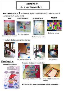 SEMAINE 9 ateliers en photo