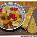 Salade de fruits aux framboisines et brioche de michalak