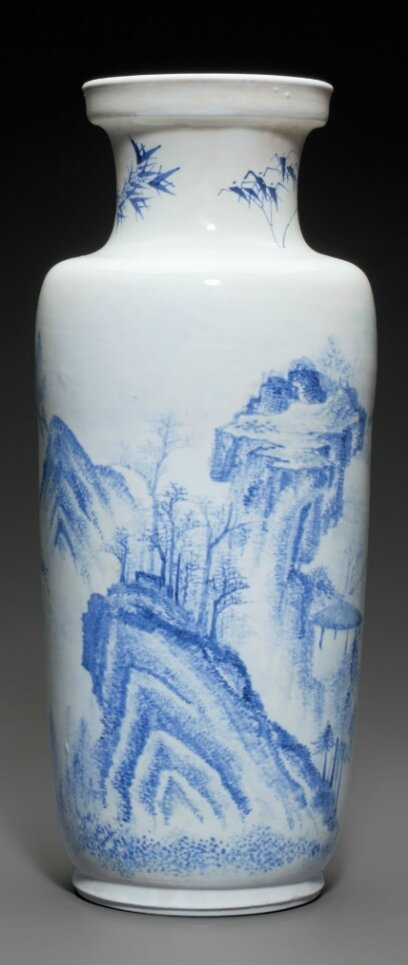 A Rare Blue And White Rouleau Vase Kangxi Period 17th