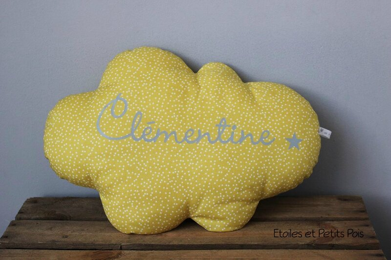 Coussin nuage moutarde gris
