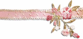 Gif barre ruban rose et fleurs à Droite 320 pixels