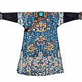 A blue-ground embroidered court 'dragon' robe, jifu, 19th century