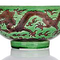 A fine imperial green and aubergine dragon bowl, China, Kangxi-six-character mark and period