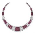 Platinum, cabochon ruby and diamond necklace, france